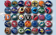 The first two rows include Arizona Cardinals Jacksonville Jaguars New England Patriots New Orleans Saints Cleveland Browns Denver Broncos Seattle Seahawks Baltimore Ravens Washington Redskins Chicago Bears Carolina Panthers New York Jets and Houston Texans