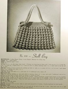 Vintage 30s shell bag crochet pattern. You can see the instructions in the blow up mode on Flickr.
