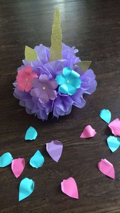 Quinceanera Party Planning – 5 Secrets For Having The Best Mexican Birthday Party Pom Pom Decorations, Bridal Shower Decorations, Birthday Decorations, Wedding Decorations, Paper Flower Wall, Paper Roses, Unicorn Birthday Parties, Unicorn Party, Baby Shower Unicornio