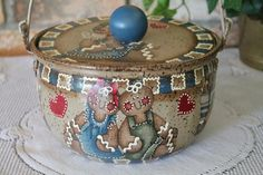 Old Metal Cooking Pot..Gingerbread Decor..Kitchen Decor..Upcycled Vintage..Cookie Storage via Etsy