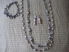 bracelet, necklace and earrings