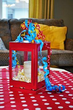Vintage Circus Birthday Party--- lantern with popcorn