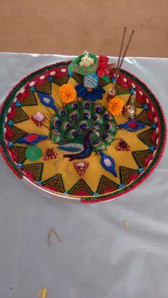 Aarti thal decoration Arti Thali Decoration, Puja Room, Ganpati Bappa, Ppr, Creative Things, Craft Work, Ganesha, Trays, Houses