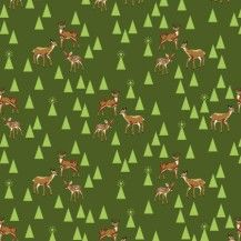 Holiday Homies Bambi Life Quilting Fabric - Pine Fresh by Tula Pink