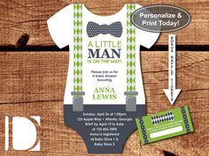 Little Man Baby Shower Invitation, Onesie Invitation, Bow Tie, Suspenders, Navy, Green, Instant Download, DIY, BONUS Raffle Tickets by DeReimer DeSign for only $8.95