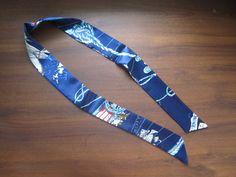 Blue Silk TwillySilk Handbag TieSilk Scarf100% by SummerMatcha