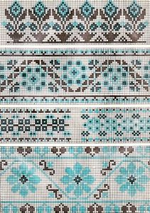 Beading _ Pattern - Motif / Earrings / Band ___ Square Sttich or Bead Loomwork ___ blue and black motive. this would be awesome in Petites Blendables Ocean Blue Cross Stitch Borders, Crochet Borders, Cross Stitch Charts, Cross Stitching, Cross Stitch Embroidery, Cross Stitch Patterns, Motif Fair Isle, Fair Isle Chart, Fair Isle Pattern