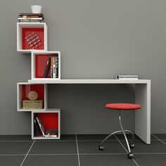 Decortie Balanced Desk & Bookcase, Various Colours Available -ACHICA
