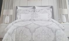 Amazon.com: Tahari Home luxurious 3 pc King Duvet Cover Set Gray Taupe Silver Medallion Paisley 300 thread count Cotton: Home & Kitchen