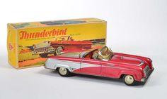 Niedermeier, Thunderbird rot, W.-Germany, 29 cm, Blech, Friktion ok, min. LM, Okt Z 1-2, Hupe ohne Funktion, Z 1-  Niedermeier, Thunderbird red, W.-Germany, tin, friction ok, min. paint d., box C 1-2, horn without function, C 1-