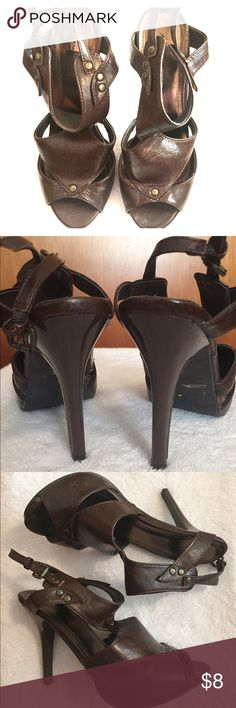 Cute Anne Michelle brown heels. Cute with jeans or a dress! Worn a few times. Last pic shows the sole lifting a little other than that still alot of wear left. Anne Michelle Shoes Heels