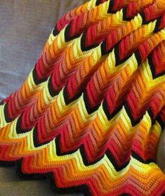 Manta de ganchillo: Fotos de diseños en zig zag - Labores de ganchillo, modelo de manta en zig zag