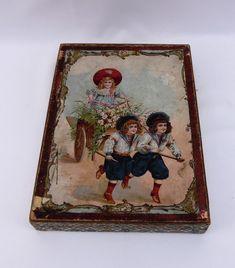 3 puzzles in doos, Frankrijk ca 1890