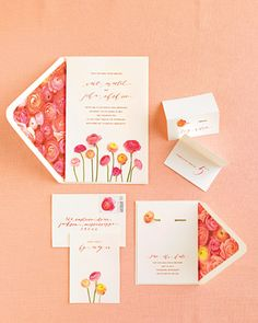 Invite guests to a spring wedding with floral arrangements -- in the form of this DIY invitation
