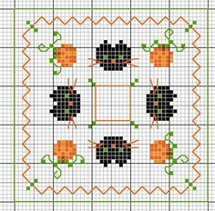 <3 Cross-stitch Halloween Biscornu... no color chart available, just use pattern chart as your color guide.. or choose your own colors...