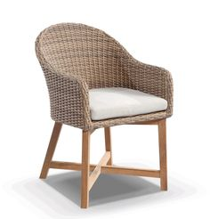 United House Furniture   Coastal Wicker Dining Chair With Teak Timber Legs  Brushed Wheat, $299.00