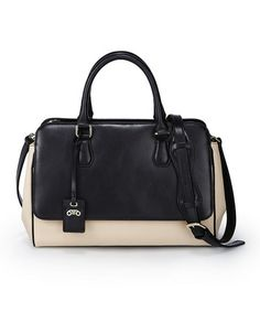 Nude & Black Panel Leather Satchel by RoviMoss