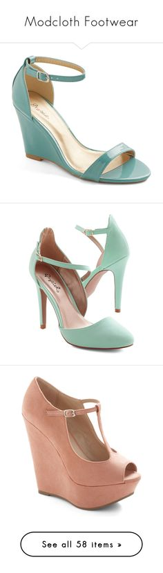 """Modcloth Footwear"" by stylesbymimi ❤ liked on Polyvore featuring shoes, sandals, wedges, blue, heels, mint, ankle strap sandals, blue heeled sandals, wedge heel sandals and blue sandals"