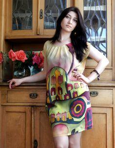 Summer silk dress. Hand painted silk dress by ArmeniaOnSilk, $180.00