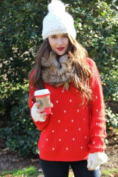 Kiss Me Darling: Comfy Cozy with Good Row Clothing + a GIVEAWAY!! Winter outfit, valentines day outfit, christmas outfit, holiday outfit, red sweater, heart sweater, snow boots, fur boots, pom pom beanie