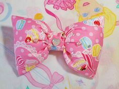 Macaron puffy hair bow pearl heart sparkle sweet by missalphabet