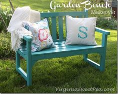 Garden Bench Makeover #bright #outdoor #furnituremakeover