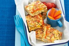 """Cheesy zucchini and pasta slice"" This twist on the classic zucchini slice is perfect for lunchboxes. Healthy Lunches For Kids, Healthy Foods To Eat, Kids Meals, Healthy Snacks, Nutritious Snacks, Healthy Habits, Dinner Recipes For Kids, Healthy Dinner Recipes, Snack Recipes"
