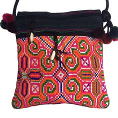 ae2f353ba186 Cross Body Bag - Hand Embroidered Cotton   Hemp Travel Bag - Phone and  accessory bag - Vivid Colours