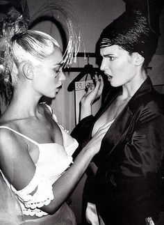 Kate Moss & Stephanie Seymour.Backstage at John Galliano,1996  Competition