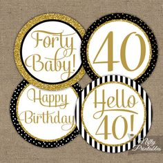 Black & Gold Glitter Birthday Cupcake Toppers - Fortieth Bday Party Printable - Elegant DIY Birthday Favor Tags or Stickers - BGL 60th Birthday Cupcakes, Anniversary Cupcakes, Glitter Birthday Parties, Moms 50th Birthday, 75th Birthday Parties, Anniversary Party Decorations, Birthday Favors, Anniversary Parties, Birthday Party Decorations