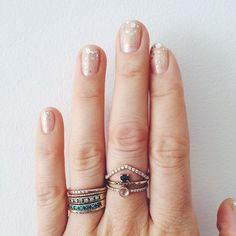 Fav Accessories- a stack of my rings, my favorites are the Moon and Stars Ring, Stacked Sapphire 6. Ring, Bead Wire Band, Five Dot Yellow Gold Band, Diamond Micro Pave Peak Band, Moonstone and Diamond Band.