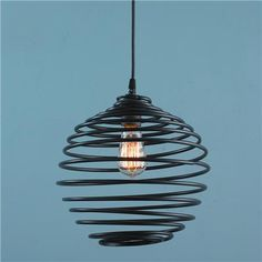 Metal Coil Pendant Light in Bronze or Gray