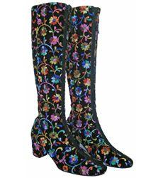 1970s Golo Embroidered Velvet Boots  Vintage