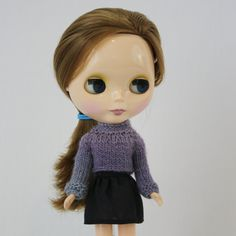 New to AnneArchy on Etsy: Toby Sweater for Blythe knitting PATTERN long-sleeved doll cropped crop sweater - instant download - permission to sell finished objects (5.00 USD)