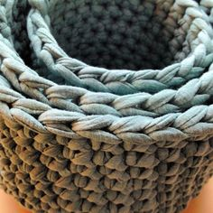 Crocheted large storage basket teal by LivingWithLiisa on Etsy. XL from finland