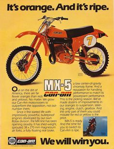 Enduro Vintage, Vintage Motocross, Vintage Bikes, Vintage Motorcycles, Mx Bikes, Motocross Bikes, Cool Bikes, Sport Bikes, Can Am