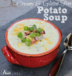 This creamy potato soup is easy, cheap, delicious AND gluten-free! You have to give this one a try! #glutenfree #frugalliving #DIY