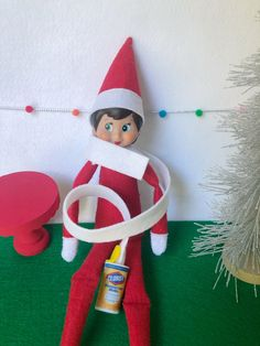 2 x Elf Props Christmas Face Masks With Red Glitter Felt// And Xmas Tree for Fun