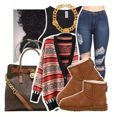 """12/28/15"" by xtaymaxlovesxmisfitx ❤ liked on Polyvore featuring moda, H&M, Versace, MICHAEL Michael Kors y UGG Australia"