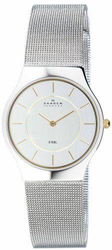 Skagen Men's 233LGSC Two-Tone Mesh Bracelet Watch Skagen. $54.99. Quartz movement. Stainless-steel case; Silver White dial. Case diameter: 36 mm. Mineral crystal. Water-resistant to 99 feet (30 M)