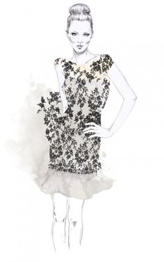 Fashion illustration - floral print dress, fashion drawing // Esra Roise