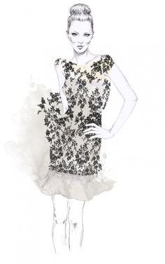 Fashion illustration - floral print dress, fashion drawing // Esra Roise