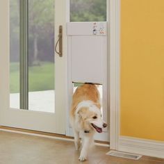 Electronic Dog Door: This electronic door automatically opens when a dog approaches. When the ultrasonic collar worn by your dog comes within 1' to 10' from the door, it automatically opens or closes. This airtight door locks with a deadbolt ensuring a secure and weathertight barrier.