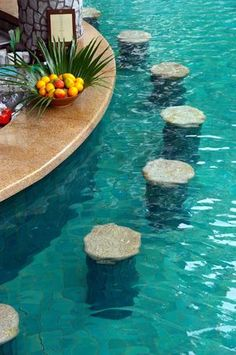 Swim-Up Bar:    Swim-up bars are typically built with underwater seating, and are a popular addition with those who do a lot of entertaining.  I want one along the pool edge to be used by people both in and out of the pool — in conjunction with a sunken patio bar/outdoor kitchen.
