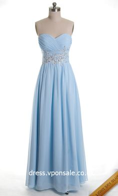 Long Bridesmaid Dresses Long Strapless Chiffon Ball Gown VPW870  I would need Navy Blue though..