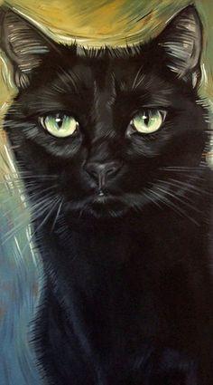 Black cat Gin by Diane Irvine Armitage.