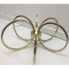 Image of Hollywood Regency Brass Ring Coffee Table Base