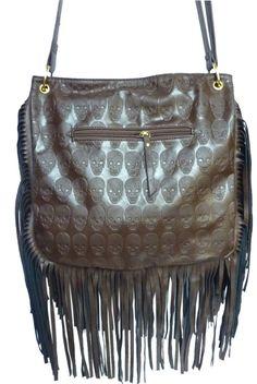 LYDC Designer Skull Messenger Shoulder Bag Fringe Celebrity Studs Tassel Punk - Coffee - W 12 ,H 12 ,D 4 inches: Amazon.co.uk: Shoes & Bags