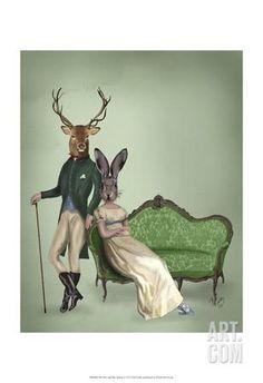 Mr Deer and Mrs Rabbit Art Print by Fab Funky at Art.com
