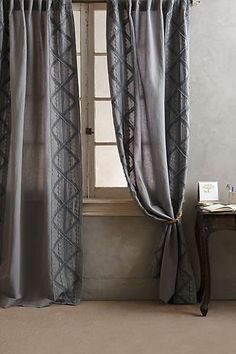 Appliqued Lace Curtain (Neutral in color)